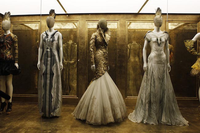 Creations by the late British designer Alexander McQueen are displayed during a preview at the Metropolitan Museum of Art in New York